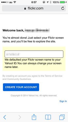 Flickrのアカウントを作成