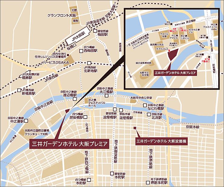 大阪三井花園飯店Premier地圖