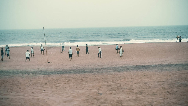 Volleyball practice in puri sea beach