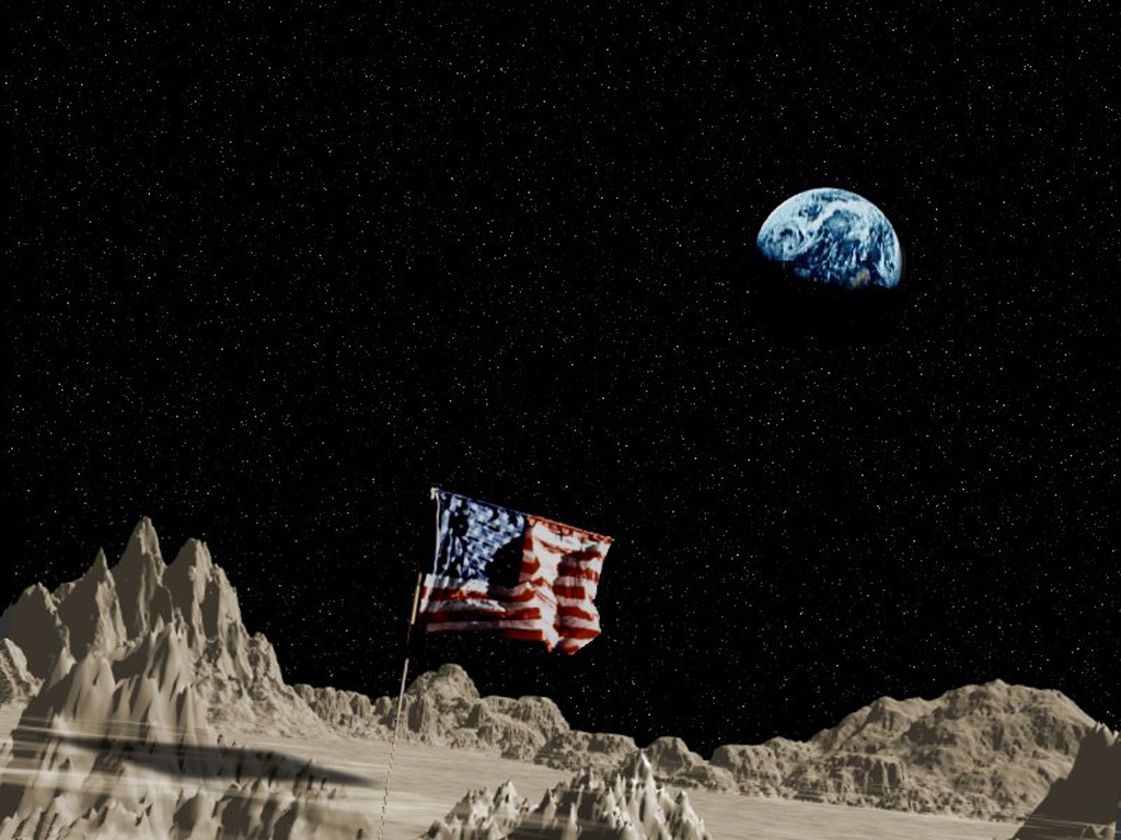 Which President encouraged the US to land on the moon?
