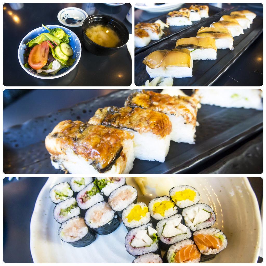 Nosh and nibble ajisai sushi bar hosomaki and battera for Ajisai japanese cuisine