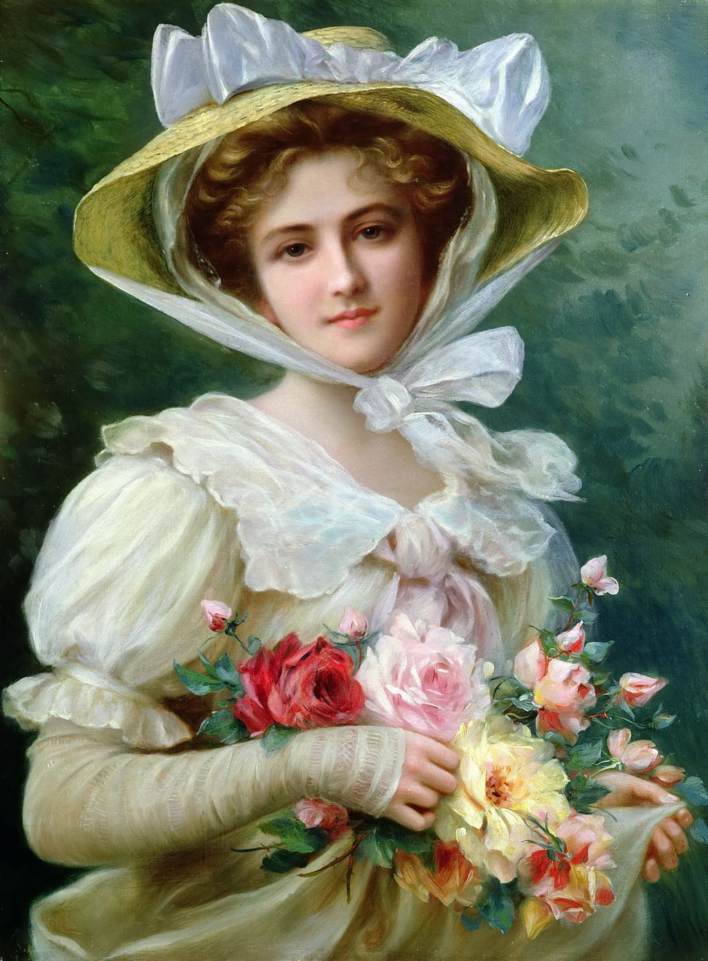 Elegant Lady with a Bouquet of Roses by Emile Vernon