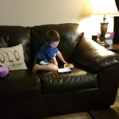 marcus using two tablets at the same time; he takes after his uncle #multitasking