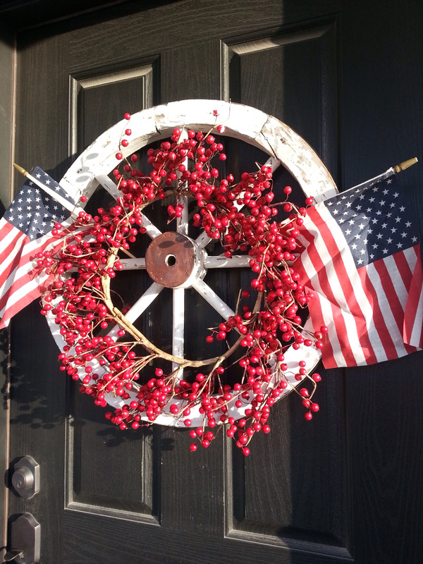 Memorial Day Wreath for Door, Red White and Blue Wreath, 4th of July Wreath