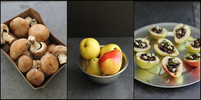 Mushroom stuffed pears appetizer