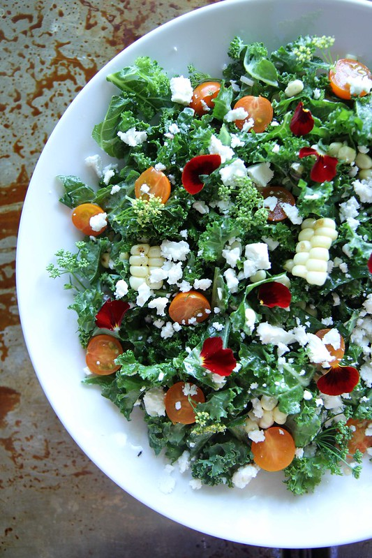 Kale Salad with Charred Corn and Feta