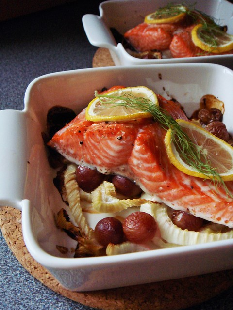 Roasted Salmon and Grapes on Fennel