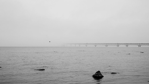 Mackinac Bridge shrouded in fog