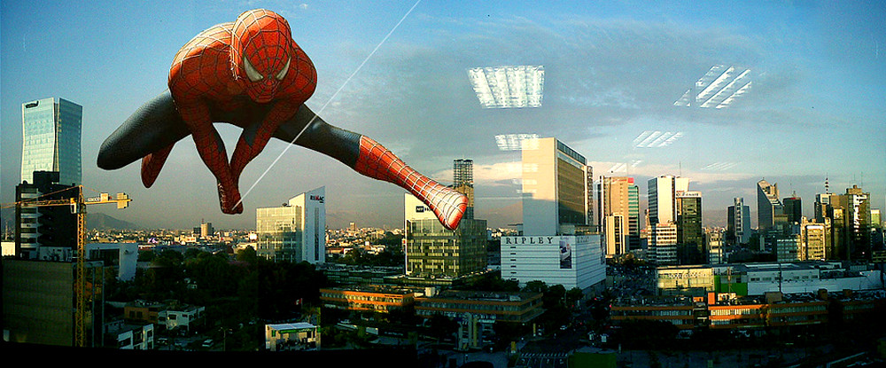 Spiderman over the Lima, Peru cityscape