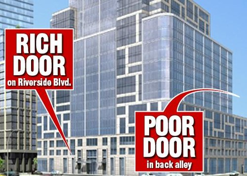 New York Post graphic of apartment building with separate entrance for affordable housing tenants
