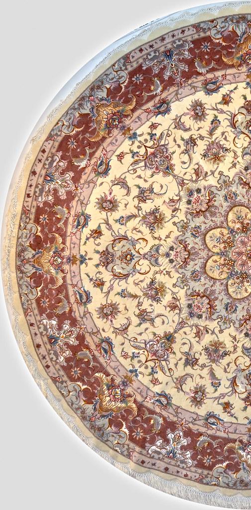 Persian Silk Tabriz Olia design Circular Area Rug