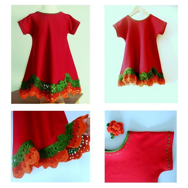 Vestido rojo con volante a crochet