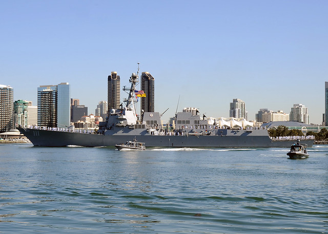 SAN DIEGO - The Arleigh Burke class guided-missile destroyer USS Spruance (DDG 111) departed Naval Base San Diego Oct. 16 on its maiden deployment to the Western Pacific Ocean.