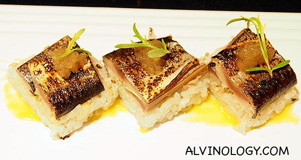 Sanma Sushi - yuzo miso, raphanus sauce