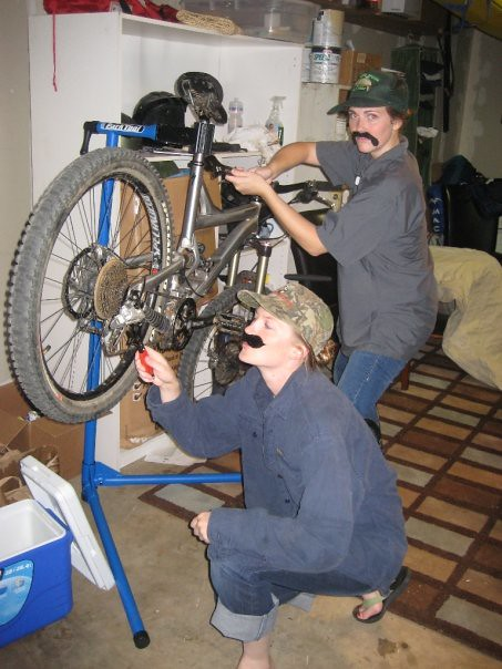 Moonlighting as  bike mechanic
