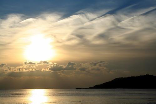 sunset sea cloud reflection beach nature water weather clouds coast seaside calm dorset southcoast seashore lymeregis headland westcountry charmouth