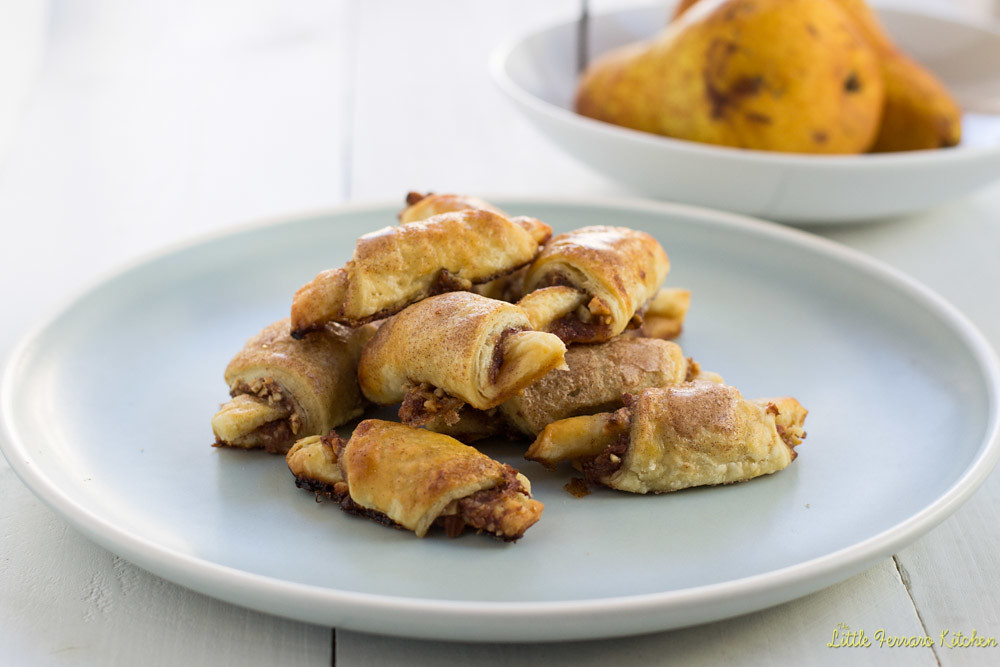 Wine Poached Pear and Almond Rugelach via LittleFerraroKitchen.com