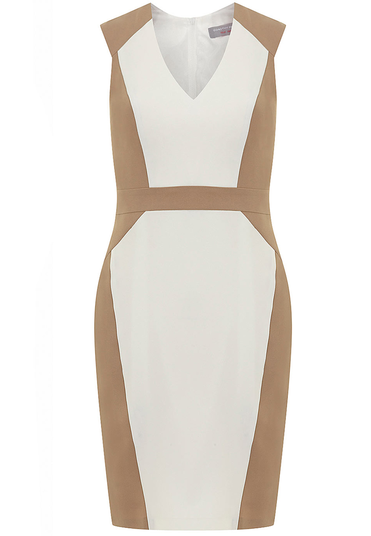 Petite stone and ivory structured dress