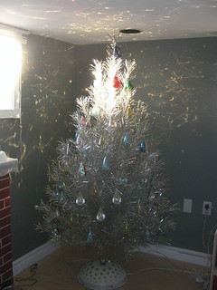 Silver Aluminum Tree with Pine type needles