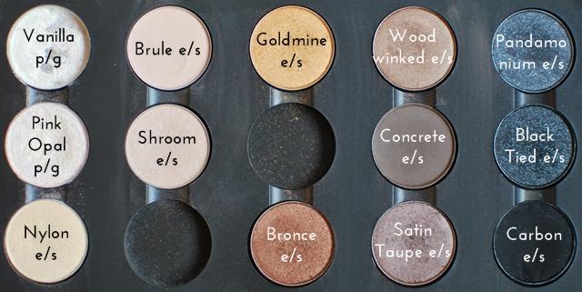 MAC Pro Palette Vanilla, Brule, Goldmine, Woodwinked, Pandamonium, Pink Opal, Shroom, Concrete, Black Tied, Nylon, Bronce, Satin Taupe, Carbon eyeshadow pigment
