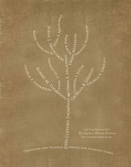 Family tree with names art brown ivory ancestry roots