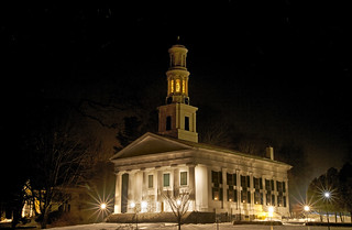 Madison's First Congregational Church on a snowy night