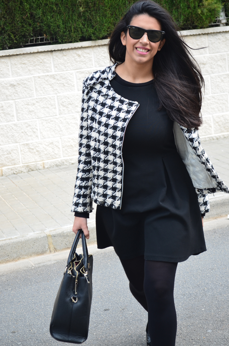 florenciablog tweedjacket estampado pata de gallo little black dress LBD mocasines zara (14)