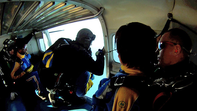 OK, Geronimo! Popping out of the aircraft at 14,000 feet!