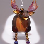 Nancy Nagel; Moose Perfume Bottle; Lampworked glass; 3x3x4; 2015 -