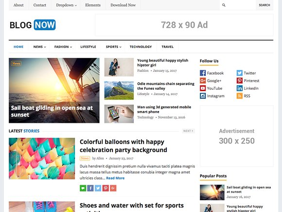 BlogNow v1.3 – WordPress Blog Theme