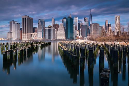 manhattan newyork unitedstates us city river pier reflections clouds sunrise blue fredom tower arun sundar canon water brooklyn