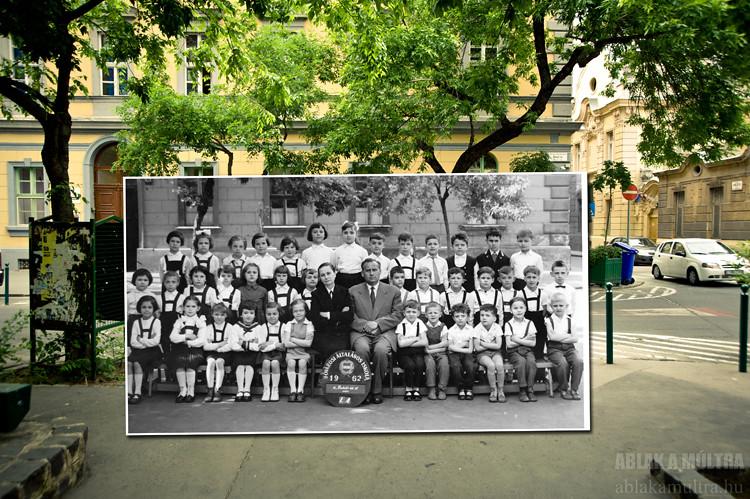Budapest, IX. Bakáts tér 12., Ének-Zenei Általános Iskola a Knézich utca sarkán fortepan_21516