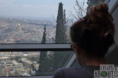 Kat overlooking Tbilisi from the funicular railway up the hill