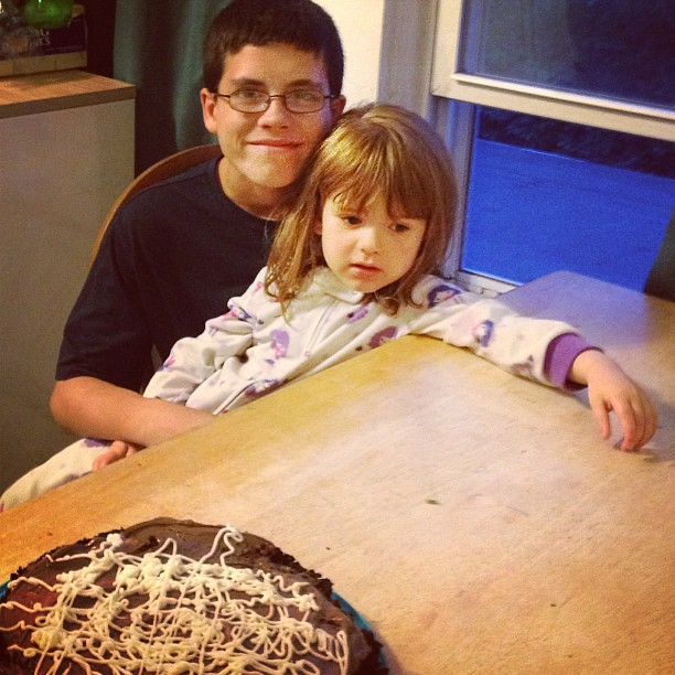 Almost ten years apart exactly.  Off by one day.  She was nice enough to wait a day so he didn't have to share his birthday.