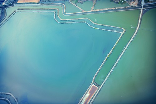 South Bay retaining pools, from above, San Francisco Bay, California, USA by Wonderlane