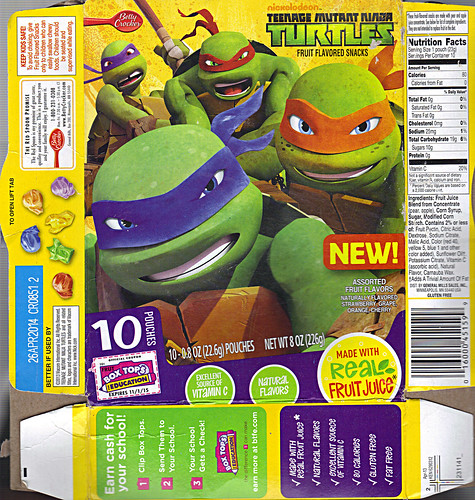"BETTY CROCKSER :: ""Nickelodeon TEENAGE MUTANT NINJA TURTLES"" Fruit Flavored Snacks i (( 2013 ))"