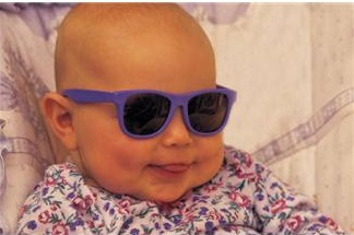Baby with purple sunglasses