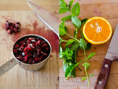 Diced cherries with mint and orange