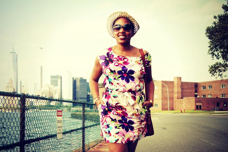 Floral Dress + Straw Hat