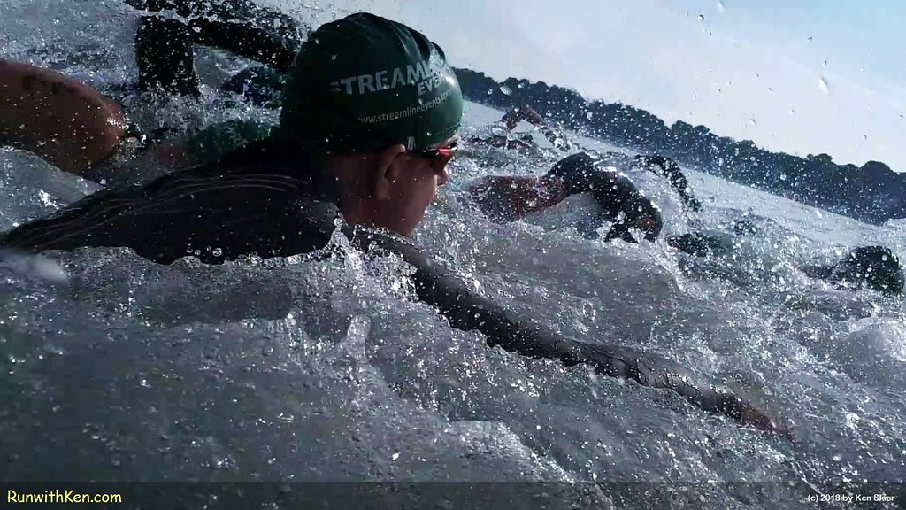 Welcome to the blender!  Open Water Swimmers at the Witch City Triathlon in Salem, MA. by runwithken