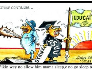 Cartoon depicting the labor strife in Nigerian higher education. The Academic Staff University Union (ASUU) are currently on strike during August 2013. by Pan-African News Wire File Photos