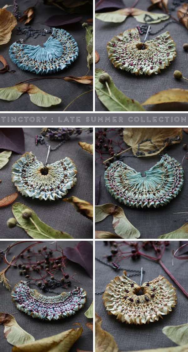 Late summer collection by Tinctory, naturally dyed and hand smocked textile necklaces.
