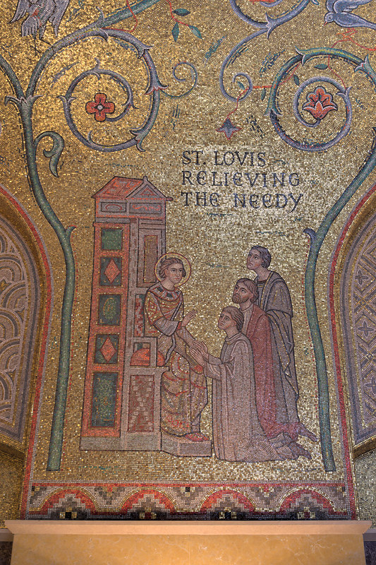 Cathedral Basilica of Saint Louis, in Saint Louis, Missouri, USA - mosaic 5 in Narthex - St. Louis Relieving the Needy
