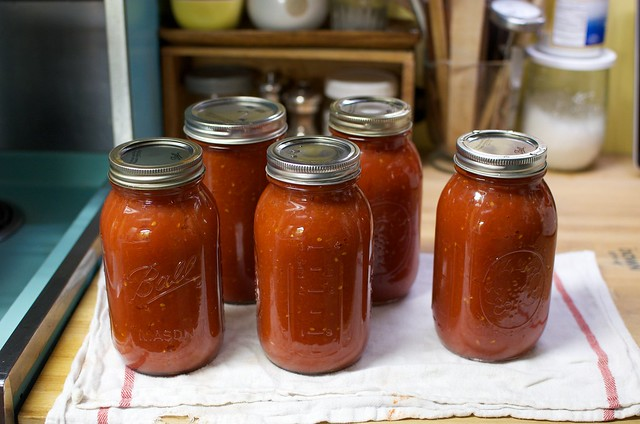 finished jars of sauce
