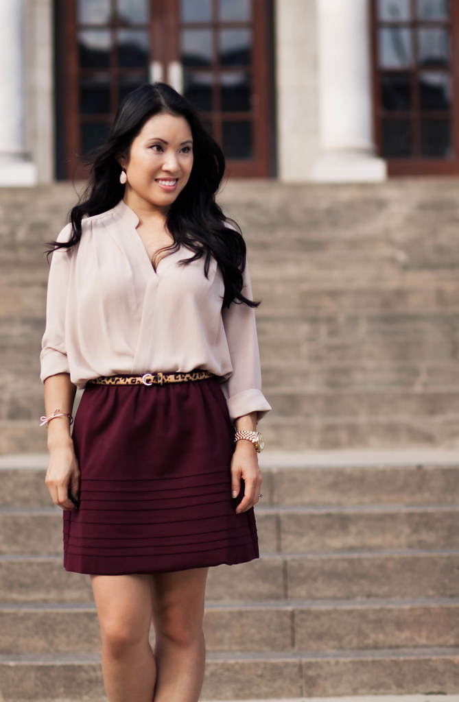 rose surplice top, oxblood full skirt, leopard belt, brown patent pumps, kate spade mini bow | nordstrom YOUphoria | petite fashion