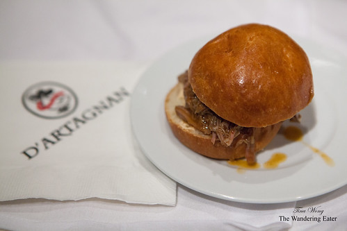 7-Hour braised lamb shoulder in a brioche bun with espelette hot pepper aioli by Ariane Daguin of D'artagnan