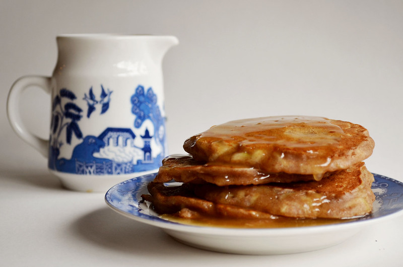 Whole Wheat Apple Cinnamon Pancakes With Cinnamon Syrup Recipe ...