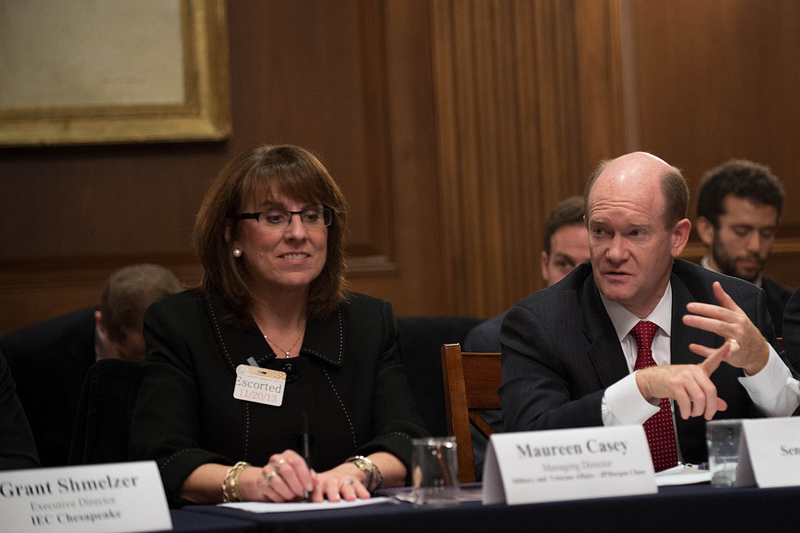 Senator Coons was joined by Maureen Casey and U.S. Army First Lieutenant Anthony K. Odierno, both of JPMorgan Chase's Military & Veterans Affairs Department at a Senate roundtable on boosting the hiring of veterans held in the Capitol on November 20, 2013.