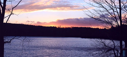 november sunset sky panorama lake cold fall water clouds landscape pond view maine scenic windy westpond