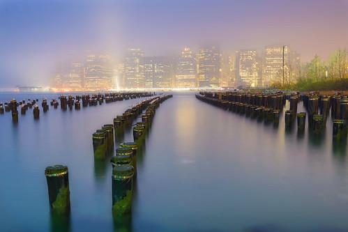 wood nyc longexposure usa mist ny newyork fog skyline brooklyn night river pier nikon flickr downtown manhattan east nocturna poles niebla nuevayork 1835 d600 photographyforrecreationclassic